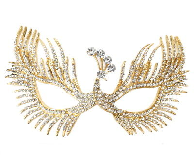 Gold Crystal Rhinestone Quinceanera Mardi Gras Peacock Masquerade Mask Wedding - Masquerade Peacock Masks