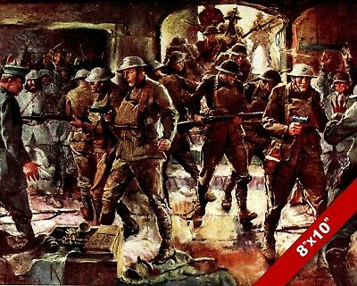 Allied Raid On German Trench Wwi World War 1 Art Painting Real Canvas Print