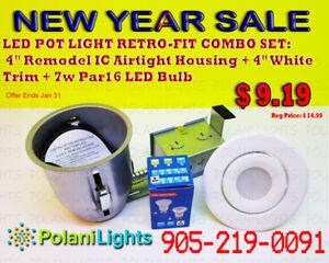 POT LIGHT 4INCH IC HOUSING+WHITE TRIM+7W PAR16 LED BULB $8.99