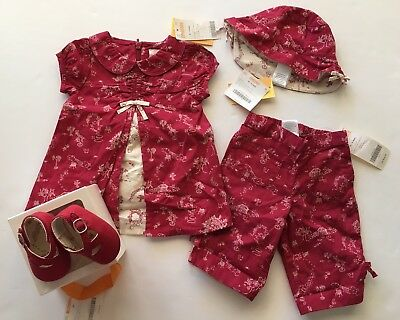NWT Gymboree Sitting Pretty 0-3 Months Red Toile Dress Pants Hat & Outlet Shoes