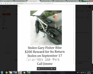 Stolen * Gary Fisher* Bike from Knights Table