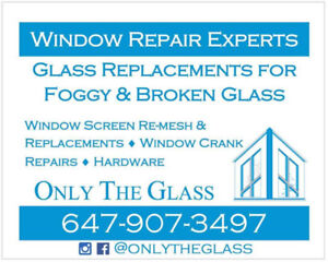 WINDOW&DOOR GLASS REPLACEMENTS + CRANK REPAIRS/SCREENS/HINGES