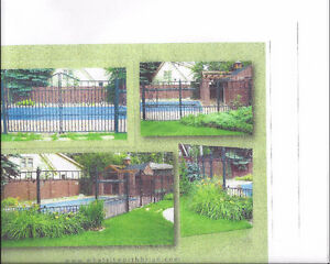 Metal fence with large rolling gates and tempered glass