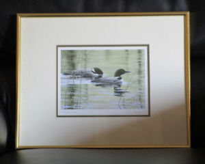 Fishing Loons print signed by artist Don Li-Leger, Price Reduced