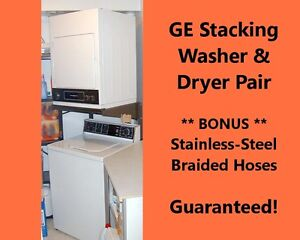 GE Full-Size Stackable WASHER, DRYER & HOSES - All Guaranteed!