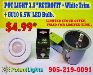 POT LIGHT 3.5 INCH NIC HOUSING+WHITE TRIM+6.5W GU10 BULB $4.99
