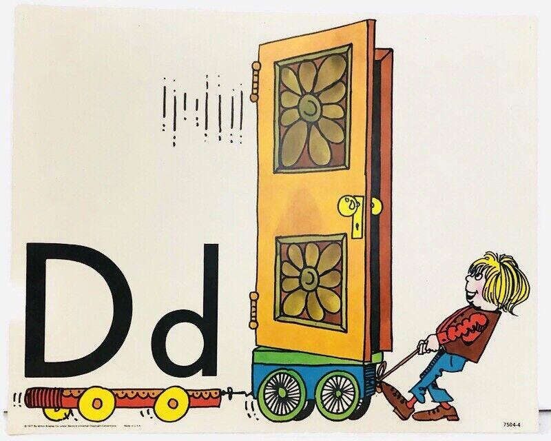 Vintage Alphabet Poster Card Electric Company Letter D 1977 Milton Bradley Door