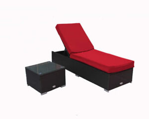 Patio Furniture Chaise Lounge with Side Table - Price Firm