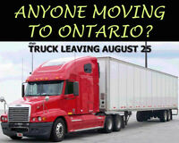 DIRECT MOVES TO ONTARIO - OUR TRUCK DEPARTS ON AUGUST 25