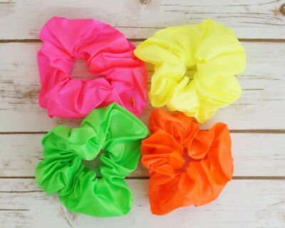 4PC Assorted Mix Satin Elastic Hair Scrunchies Neon Color Hair Accessories - Satin Assortment