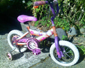 "Girls Kids Barbie Bike w 12"" Wheels and Training Wheels"