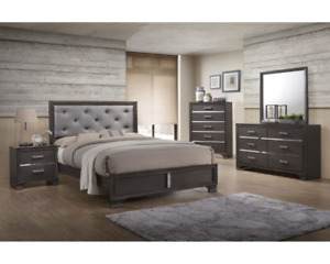 Queen bedroom suite, all pieces in pic included, grey wash color