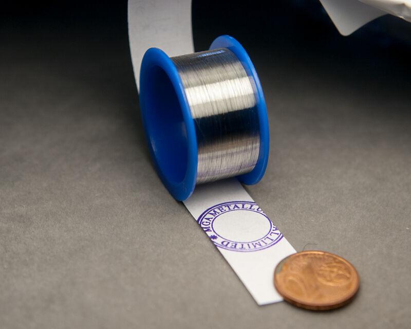"Platinum Pt Metal Element Wire - Ultra Super Thin 0.0011"" diameter - 99.99% Pure"