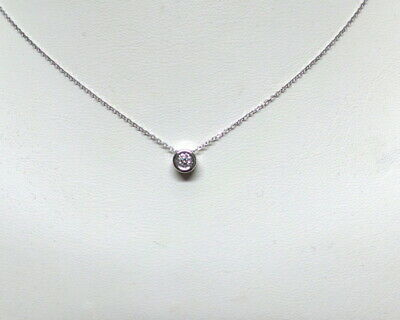 DIAMOND SOLITAIRE BEZEL SET NECKLACE 14K WHITE GOLD 0.10 CT SI1 Clarity G COLOR