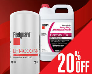 20% off Fleetguard Filters and Coolants at Cummins