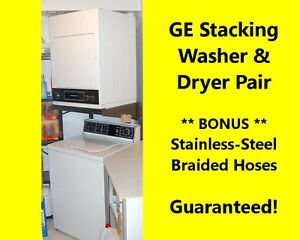 GE WASHER, Stackable DRYER & HOSES White Full-size - Guaranteed!