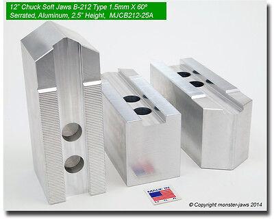 12 Aluminum Jaws 1.5mm X 60 Serrated Fits B-212 Pointed 2.5 Ht 0.827 Grv