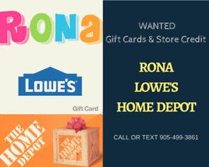Sell your Rona, Lowe's, and Home Depot giftcards!