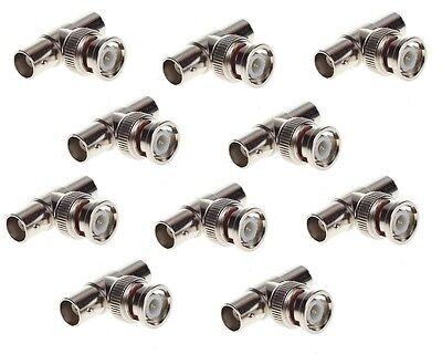 10Pcs BNC Male to Female Adapter Security CCTV camera Video Splitter T Connector