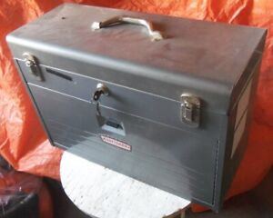 Vintage Machinist tool box with tools included & Key