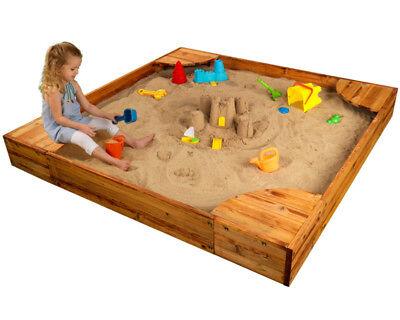 Kids Sandbox Backyard Large Mesh Cover Plastic Liner Multiple Child Play