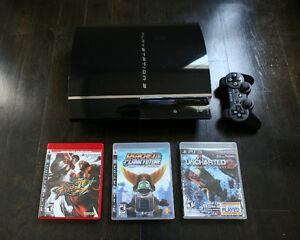 Sony Playstation 3 (80GB) w/ Controller and 3 Games