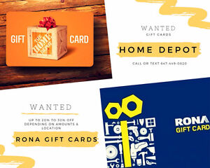 Buying ALL Home Depot, Lowes, Rona Gift Cards and Store Credit
