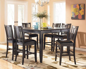 Black-brown counter height table with 6 chairs Windsor Region Ontario image 6