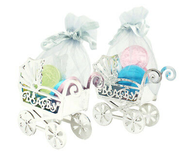 12PC Fillable Baby Shower Candy Carriage Stroller Organza Bag Favors Box Silver - Baby Shower Bags