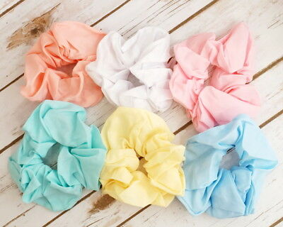 6PC Assorted Mix Elastic Hair Scrunchies Pastel Color 80's Hair Accessories - 80s Hair Accessories