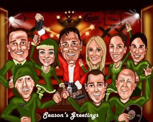 Awesome Custom Group Caricatures great Holiday Card Designs etc.