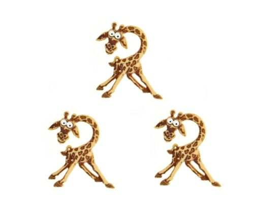 3 pcs. Silly Safari Giraffe Buttons Jesse James Dress It Up Embellishment Set
