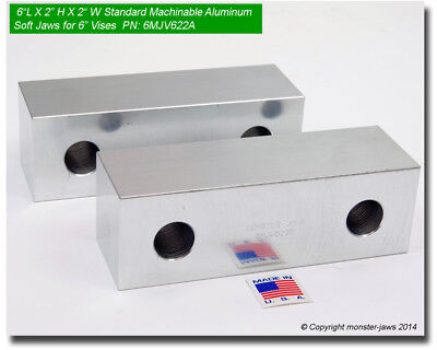 6 X 2 X 2 Standard Aluminum Machinable Soft Jaws For Kurt 6 Vises 6mjv622a