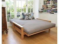"""Amazing Condition """"Futon Company"""" solid Birch wood Double bed, 100% Cotton quality mattress"""