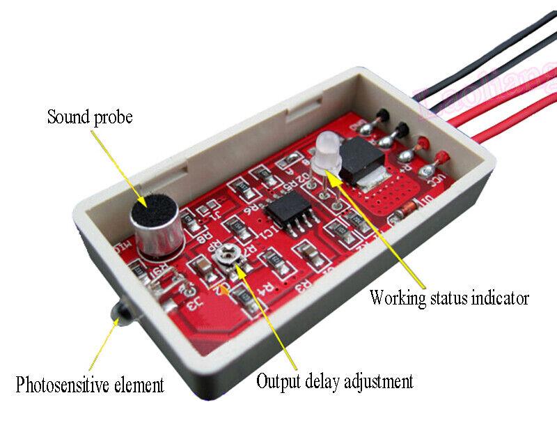 DC 5V~18V 12V Voice Sound Light Sensor Control Delay Switch Day Off //Night Work