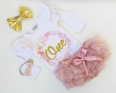 Newborn Baby Girl 1st Birthday Tops Romper + Tutu Skirt Dress Outfits Clothes US