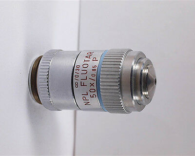Leitz Npl Fluotar 50x 0.85 P Polarizing Pol Infinity Microscope Objective