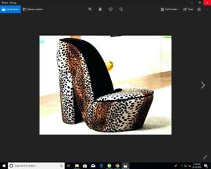 Cheetah Print High Heel Chair.
