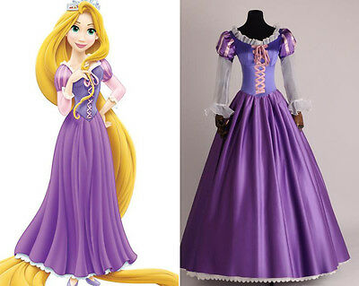 ney Cosplay Kostüm Abend-kleid Dress lang long Costume neu (Tangled Rapunzel Kostüm)