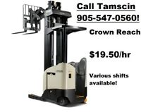 High Reach Forklift Operators Wanted! $19.50/hr