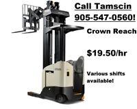 Crown Reach Forklift - $19.50/hr