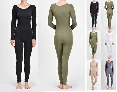 WOMEN NYLON SPANDEX LONG SLEEVE ROUND NECK CATSUIT JUMPSUIT BODYSUIT DANCE - Long Sleeved Catsuit