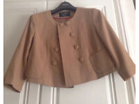 Beige/tan coloured cropped jacket size 10