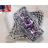 1CT Color Changing Alexandrite 925 Solid Sterling Silver Art Nouveau Ring Sz 6