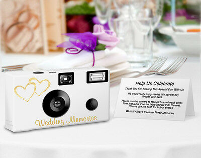 - 10 Gold Hearts Disposable Cameras, Single Use Cameras, Wedding, Anniversary