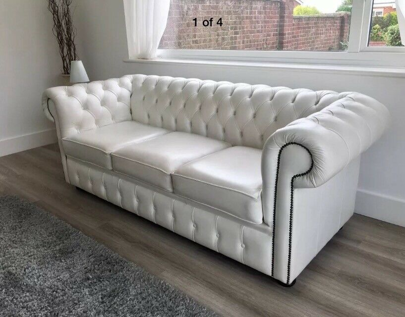 Chesterfield cream / off white ivory / real leather three seater sofa