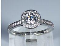 HGDL Certified Platinum 0.87ct Diamond Halo Engagement Ring rrp £4,750