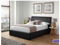 Black faux leather dbl bedframe and perfect condition Matrice