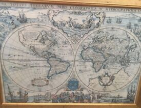 Antique style world map - French Vintage 1643 Print
