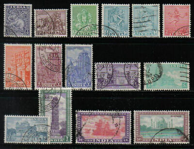INDIA 1949-51 ARCHAEOLOGY TEMPLE SHORT SET TO 5r SCOTT 207/236 USED